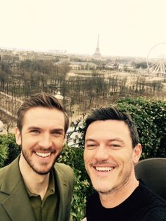Dan Stevens and Luke Evans in Paris on press tour for Beauty and the Beast