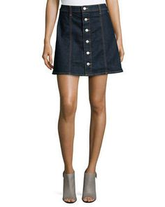The Kety Button-Front Denim Skirt, Lonestar by Alexa Chung for AG at Neiman Marcus.