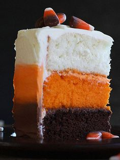 This candy corn layer cake could possibly be even better than eating the actual candy.