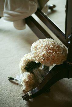 white rose nosegay bouquet