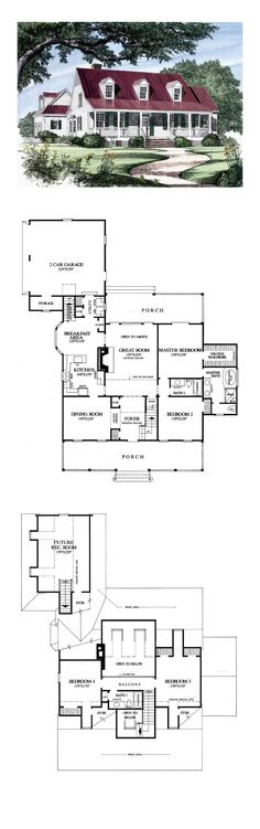 Country House Plan 86133 | Total Living Area: 2419 sq. ft., 4 bedrooms and 3 bathrooms. #countryhome
