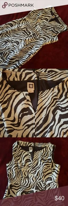 Anne Klein animal print dress Anne Klein animal print dress short sleeve small V-neck very detailed back zipper with back center split. This is used but excellent condition Dresses