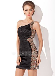 Sheath/Column One-Shoulder Short/Mini Charmeuse Cocktail Dress With Ruffle Beading Appliques