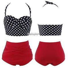 51bbd91f11 Cutest Vintage Rockabilly Pin up High Waist Bikini Set Swimwear Swimsuit  Retro