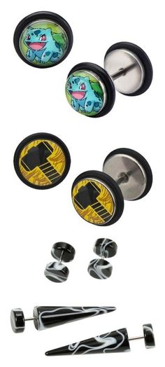 """""""Plugs + gauges"""" by ticci-toby-rogers ❤ liked on Polyvore featuring jewelry, earrings, stainless steel earrings, tri color jewelry, multi color jewelry, tri color earrings, multi colored jewelry, stainless steel, earring jewelry and unisex earrings"""