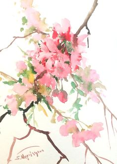 Cherry Blossom, original watercolor painting,1 5 X 11 in, pink floral asian style watercolor art