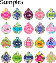 Round Pet Tag | Personalized Pet Tag | Custom Cat Tag | Lilly Inspired Pet | Dog Tag | Custom Pet Tag | Pet Name Tag  #DogCollarTag #CustomPetTag #PetIdTag #LillyInspiredPet #PetTag #DogTag #PersonalizedPetTag #CatTag #LillyPulitzerPet #LillyDogTag