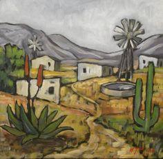 South African artist Henry Prins. Oudtshoorn African Art Paintings, Animal Paintings, Landscape Art, Landscape Paintings, Desert Art, South African Artists, London Art, Art Images, Les Oeuvres