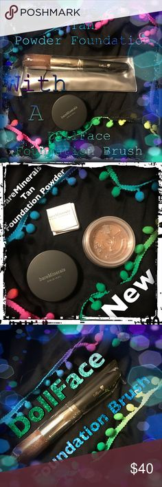 bareMinerals Tan Foundation Powder& Dollface Brush NWT brand new bareMinerals foundation powder, Tan, with a DollFace Foundation Brush, great pair, also with purchase🎁kiehls rare earth deep clean cleanser and mongongo lip conditioner fromjersey shore cosmetics🎁🚬🐱🏡💖will consider offers and trades💖 bareMinerals Makeup