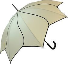 Everyday Beige & Black Swirl Walking Stick Automatic Open Umbrella Ladies Brolly