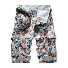Military Uniform Style Trendy Floral Print Multi-Pocket Straight Leg Loose Fit Cotton Blend Summer Shorts For Men