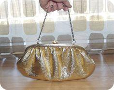 Vintage 60s Gold Metallic Handbag Clutch Purse by IntrigueU4Ever, $19.99