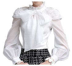 BUBBLE SLEEVE BOW & LACE ACCENT BLOUSE - WHITE | The Style Mob
