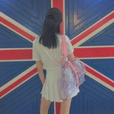 GRAFEA 真皮 背包 双肩包 粉色 透明 可爱 小众 时尚 复古 流行 潮流 买家秀 英伦 潮人 搭配 穿搭 街拍 www.grafea.com