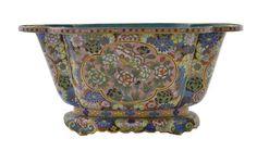 19C Chinese Cloisonne Enamel Millefleur Planter Pot.