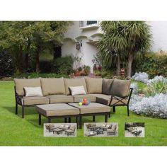 Buy Mainstays Sandhill 7-Piece Outdoor Sofa Sectional Set, Seats 5 at Walmart.com