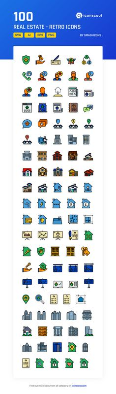 Real Estate - Retro  Icon Pack - 100 Filled Outline Icons