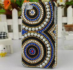 luxurious multicolor totem Rhinestone retro pearl case for iphone