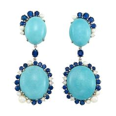 Pair of White Gold, Turquoise, Sapphire, Cultured Pearl and Diamond Pendant-Earclips