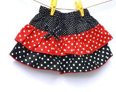 Black and Red Polkadot Skirt Toddler Skirt Tiered skirt by Cikimot, $18.50