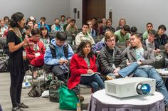 """Shaila Kotadia of Synberc interacting with participants of the """"How to Get into Grad School"""" session at iGEM"""