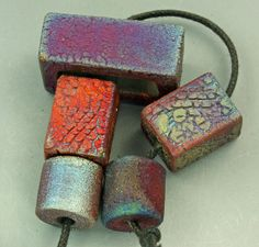 Raku Bead and Extrusion Focal Set by elementspottery on Etsy, $16.00