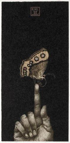 Ex-Libris by Russian-born Czech artist Marina Richterová (b1962 Moscow, Russia)