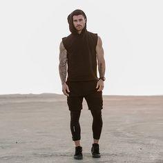 Running Tights by Nike Shorts by H&M Sleveless tee by Rick Owen Sleeveless Sweatshirt w/hood by Maor Luz