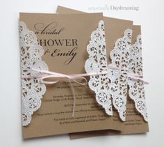 Elegant Country Bridal Shower Invitations - Lace and Kraft Paper from Perpetually Daydreaming