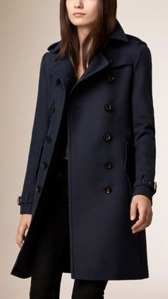 Shop for Cotton Wool Blend Twill Trench Coat by Burberry at ShopStyle. Navy Trench Coat, Trench Coats, Burberry Women, Burberry Brit, Burberry Trenchcoat, Blazers, Casual Chic Style, Coats For Women, Coats