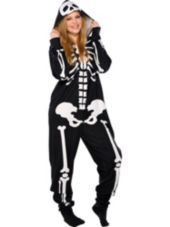 Adult Skeleton One Piece Pajamas - Party City. I want these for when it gets cold to sleep in, it looks so comfy!