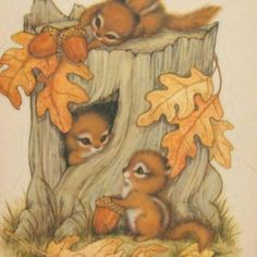 Cute Vintage Hallmark Fall Die Cut Reminds me of my first etching project! Vintage Thanksgiving, Vintage Fall, Autumn Illustration, Cute Illustration, Animal Drawings, Art Drawings, Fall Clip Art, Autumn Art, Beatrix Potter