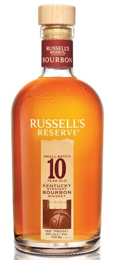 """Russell's Reserve Bourbon 10 Year Old: A handful of barrels are selected in small batches from the middle section or """"center cut"""" of the rick house to make this fine bourbon. The whiskey is aged for a minimum of 10 years in alligator charred barrels, imparting richer color and deeper flavor. Enjoy neat or in a cocktail. – Distiller's Notes"""