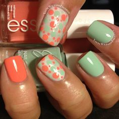 Dotticure using Julie G Gelato in Venice and Essie Tart Deco. Ring finger base is Essie East Hampton Cottage.