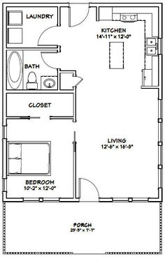 House -- -- 720 sq ft — PDF house plans, garage plans, & shed plans. The Plan, How To Plan, Tiny House Cabin, Tiny House Living, Living Room, Small Living, Small Room Design, Tiny House Design, 1 Bedroom House Plans