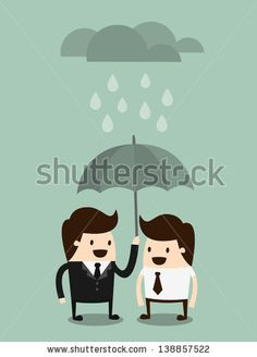 businessman with umbrella and cloud  - stock vector