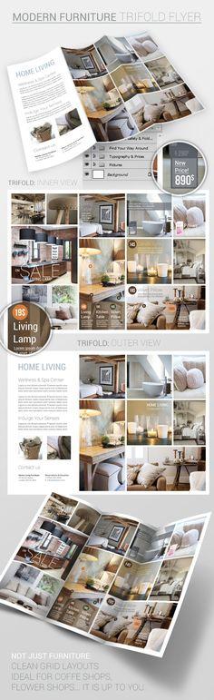 Furniture: Trifold Flyer PSD Template by Nikola Kumburovic, via Behance