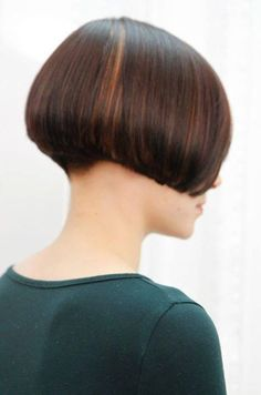 super short aline bob. Shows what the neckline could look like (dipped down a little) when people want the sides super short.