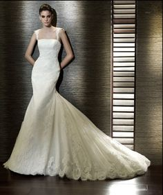 Buy Gentle Strapless Empire Wasit Lace Mermaid Chapel Train Satin Wedding Dress for Brides