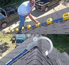 If you have an extra steep roof, it may pose challenging to get on top of your house to fix things, hang Christmas lights, or clean the gutters. That's why this genius steep assist roof ladder was inv. Roofing Tools, Roof Ladder, Hanging Christmas Lights, Construction Tools, Homemade Tools, Home Inspection, Cool Inventions, Scaffolding, Roof Repair