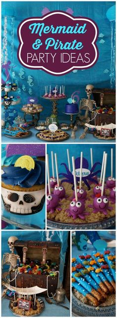 This incredible party features both mermaids and pirates! See more party ideas at http://CatchMyParty.com!