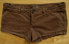 "American Eagle Shorts 10 AE Shortie Brown Mocha twill Stretch Cotton chino 2.5""  #AmericanEagleOutfitters #MiniShortShorts"