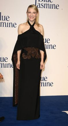 Cate Blanchett put her gorgeous shoulders on display in a Givenchy Haute Couture by Riccardo Tisci halter cutout gown at the Blue Jasmine premiere in London.
