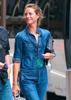 Christy Turlington Burns in a denim work overall