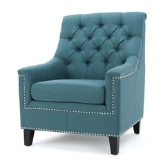 Jaclyn Tufted Club Chair - Dark Teal - Christopher Knight Home Blue Armchair, Rattan Armchair, Swivel Chair, Blue Accent Chairs, Wood Arm Chair, Room Color Schemes, Contemporary Fabric, Dark Teal, Living Room Chairs
