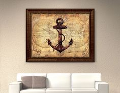 Anchor Nautical Old Map Picture Frame Art Office Wall Home Decoration Gift Ideas #SpotColorArt #VintageRustic