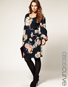 ASOS CURVE Exclusive Dress in Blurred Floral