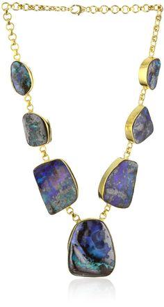 "Lena Skadegard ""Arcadia"" Australian Boulder Opal on 22k Gold Plated Chain Necklace"