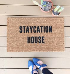"NEW! ""Staycation Home"" Doormats, Doormat, Welcome Mat, Home and Living, Home Decor"