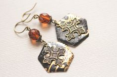 Black and Gold Patonce Cross Earrings, Medieval Cross Earrings, Medieval Jewelry, Gothic Earrings, Goth Jewelry, Black and Gold. by MusingTreeStudios on Etsy https://www.etsy.com/listing/203638414/black-and-gold-patonce-cross-earrings